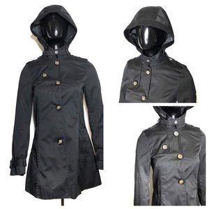 Black Peacoat Style Rain Jacket